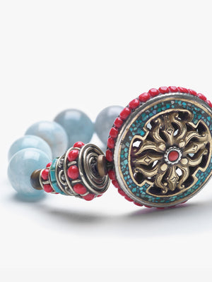 Wheel of Change - Aquamarine Dharma Wheel Bracelet