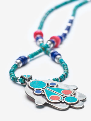 Marrakesh - Turquoise and Lapis Silver Hamsa Necklace - Limited Quantities