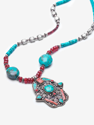Bahia Turquoise Hamsa Silver Necklace - One of a Kind