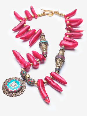 Tiger's Nest - Coral Bhutanese Pendant Necklace