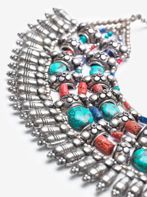 Goddess Armor - Turquoise Coral Lapis Necklace - One of a Kind