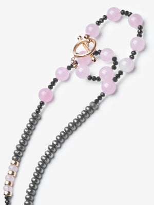 Protective Love - Rose Quartz Pavé Diamond Skull Necklace