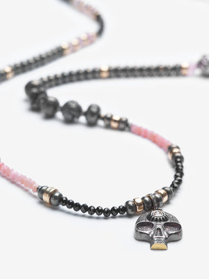 Protective Love Rose Quartz Pave Diamond Hamsa Necklace