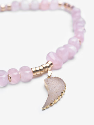 Amor Rose Quartz Feather Necklace