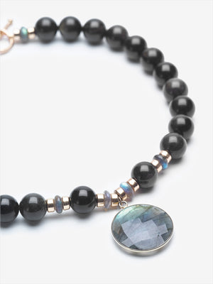 Full Moon - Obsidian and Labradorite Necklace