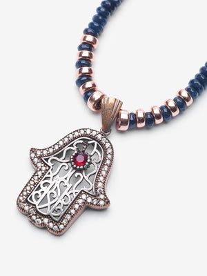 Hamsa Azra Midnight Blue Jade Gold Jeweled Necklace