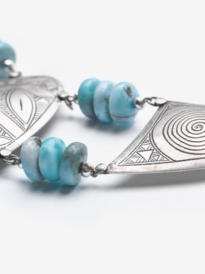Desert Sky - Larimar Berber Necklace - One of a Kind