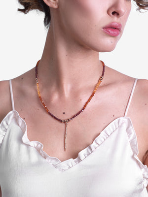 Burning Amber Garnet and Pavé Diamond Necklace