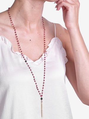 Point in Time - Garnet Pavé Diamond Necklace