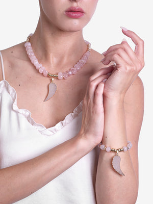 Amor Bracelet Rose Quartz Feather Gold Bracelet