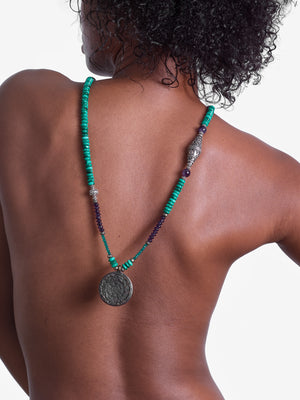 Heart and Mind - Malachite Amethyst Necklace - One of a Kind