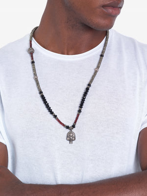 Pure Fire - Red Garnet Pyrite Pavé Diamond Skull Necklace