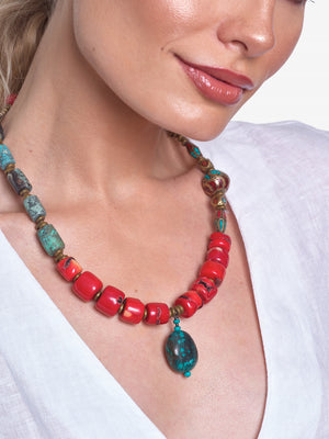 Zahra - Turquoise Coral Necklace