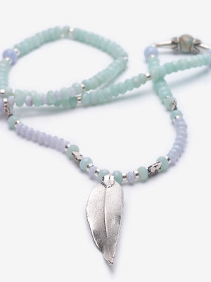 Joy - Amazonite Agate Silver Leaf Necklace