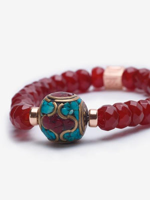 Empress Garnet - Turquoise and Rose Gold Bracelet