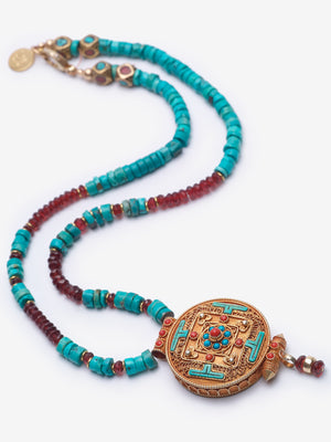 Mandala - Turquoise Gold Pendant Necklace