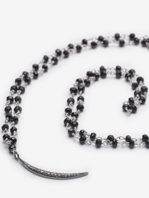 Newport Crescent - Black Chain Pavé Diamond Necklace
