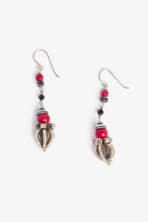 Red Bamboo Dorje Silver Earrings