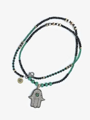Hamsa Green and Black Gold Amir Necklace