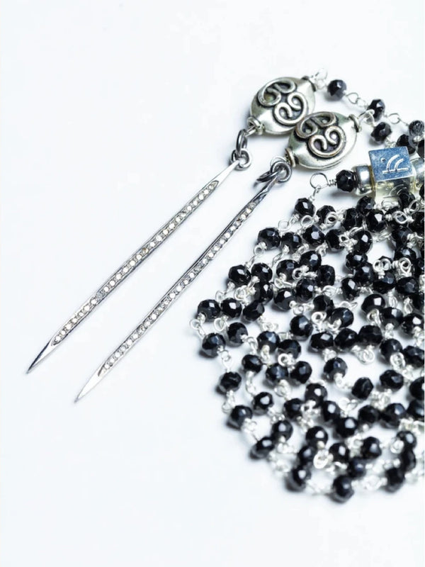 Silver Pave Diamond Black Lahza Abadia Lariat - Endless Point in Time Necklace