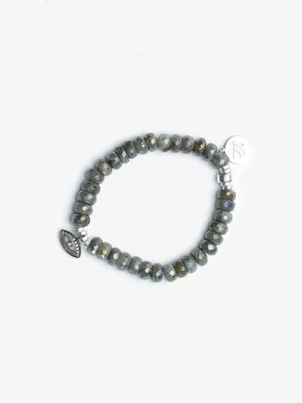 Magic Eye - Labradorite Pavé Diamond Evil Eye Bracelet