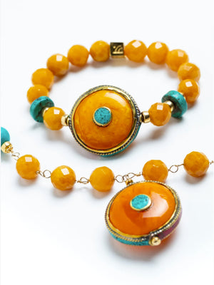 Gracia Golden Jade Necklace