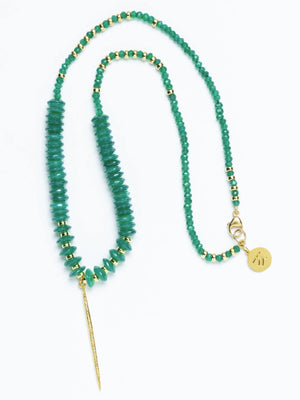 Pave Diamond Emerald Love Necklace