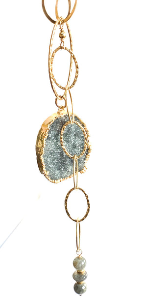 Black Jewel Druzy Gold Necklace
