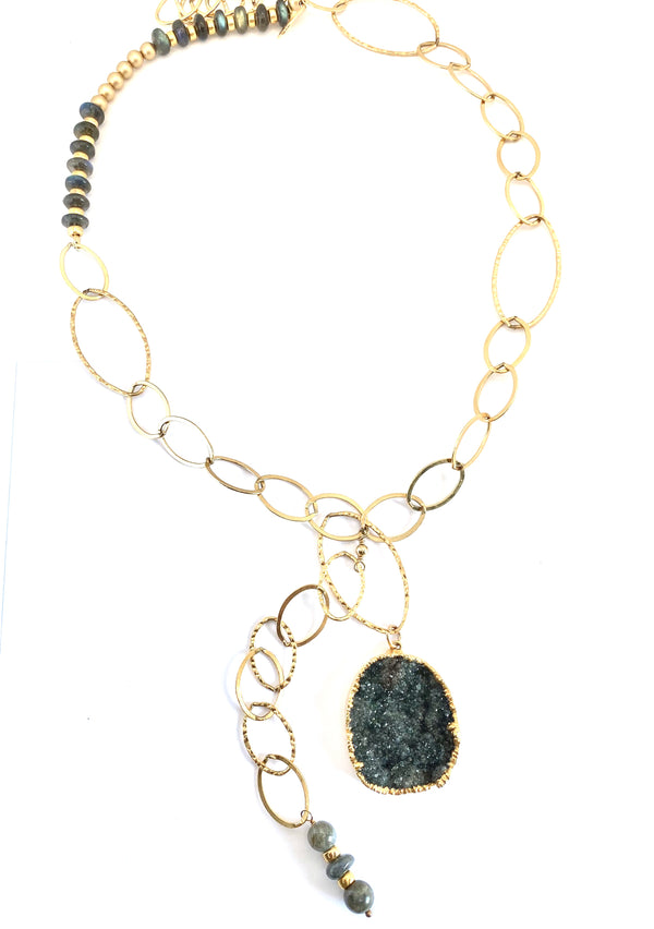 Black Druzy Quartz and Labradorite Gold Jewel Necklace