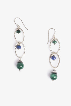 Green Malachite and Blue Lapis Earth Earrings