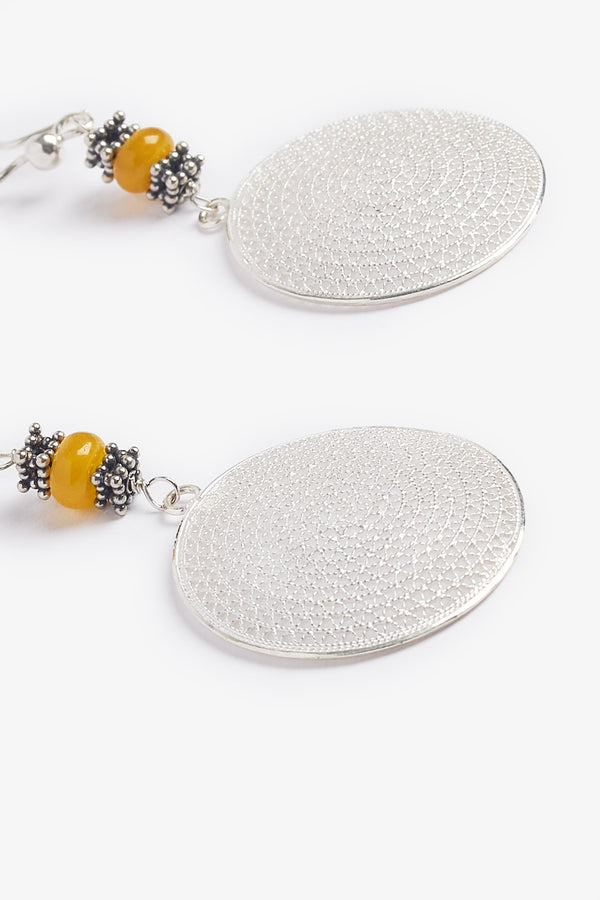 Sterling Silver Yellow Agate Burning Sun Earrings