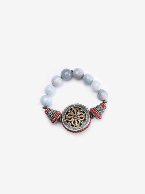 Wheel of Change - Aquamarine Dharma Wheel Bracelet | Jada Jo