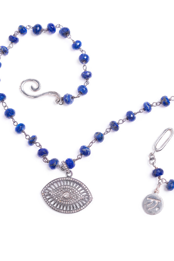Diamond Evil Eye of Blue Lapis Silver Necklace