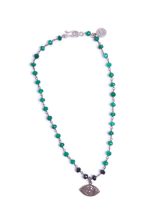 Diamond Evil Eye of Green Onyx Necklace