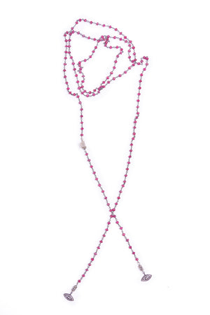 Eyes of Ruby Pave Diamond Lariat Necklace