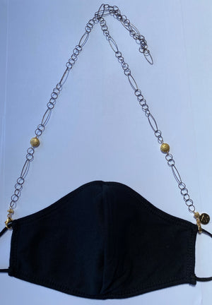 Face Mask Chain - Oxidized Sterling Silver with Gold Accents