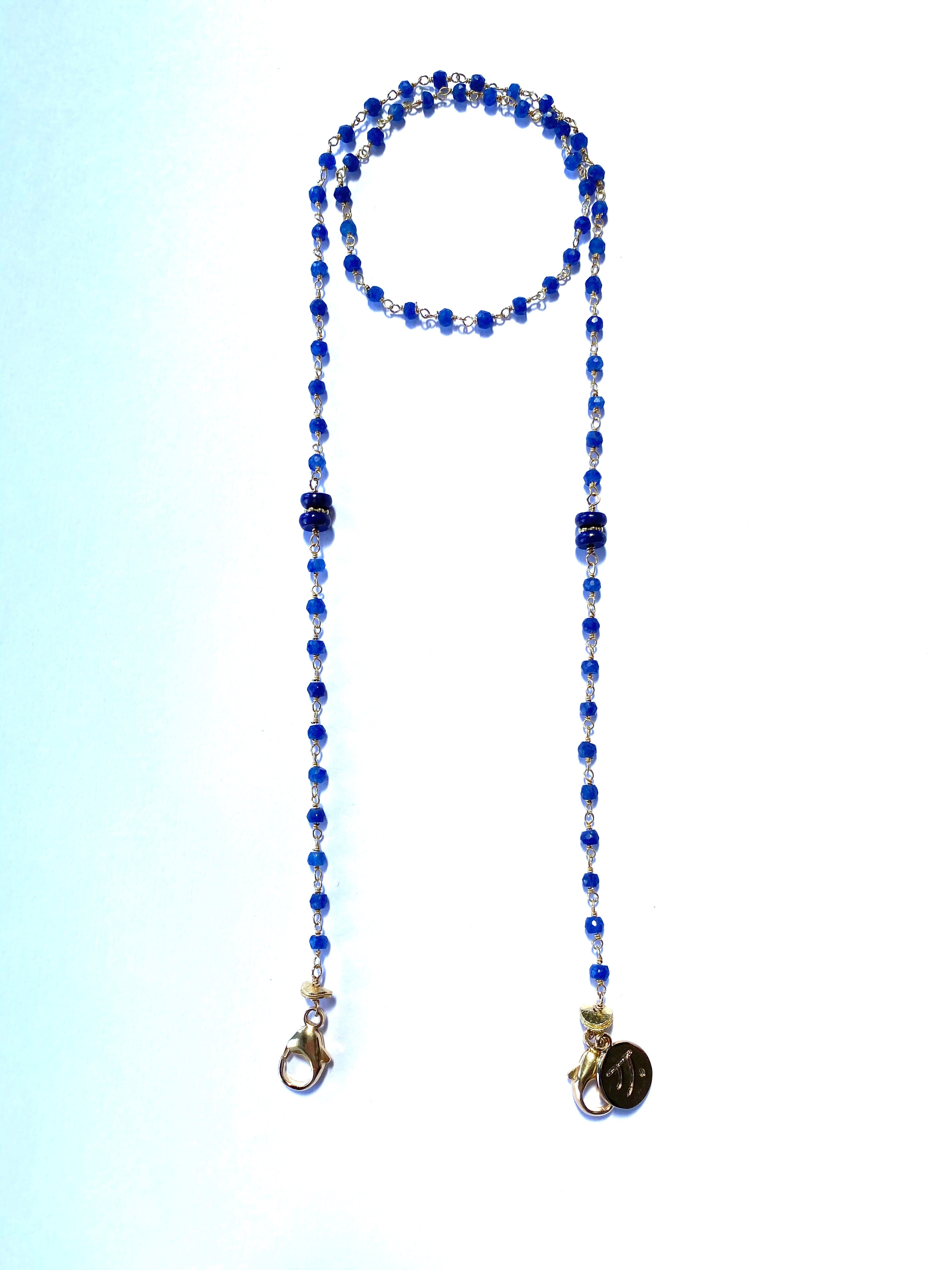 Face Mask, Eye Glass Holder Chain - Sapphire and 14K gold filled
