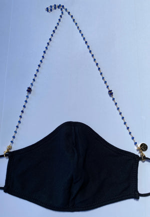 Face Mask Chain - Sapphire and 14K gold