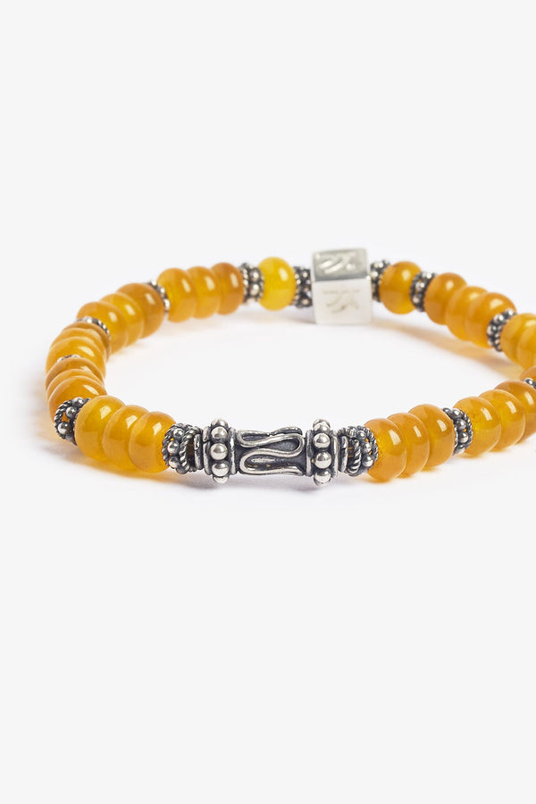 Yellow Agate Sterling Silver Burning Sun Bracelet