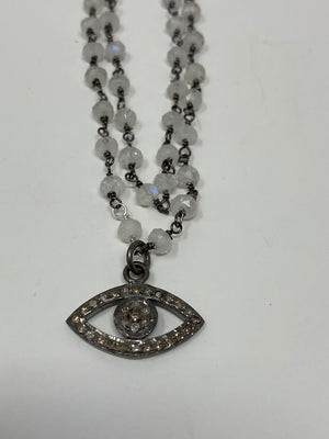 Diamond Evil Eye of Moonstone Necklace