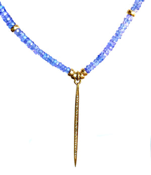 Lilac Blue Nile Tanzanite Pave Diamond Pendant Necklace