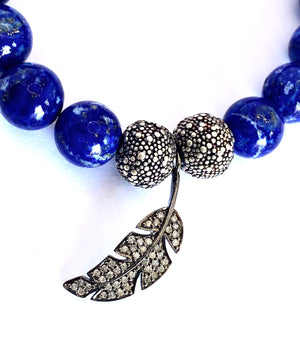 Blue Lapis Pave Diamond Leaf Bracelet