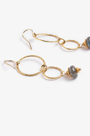 Labradorite 14K Gold Hammered Earrings