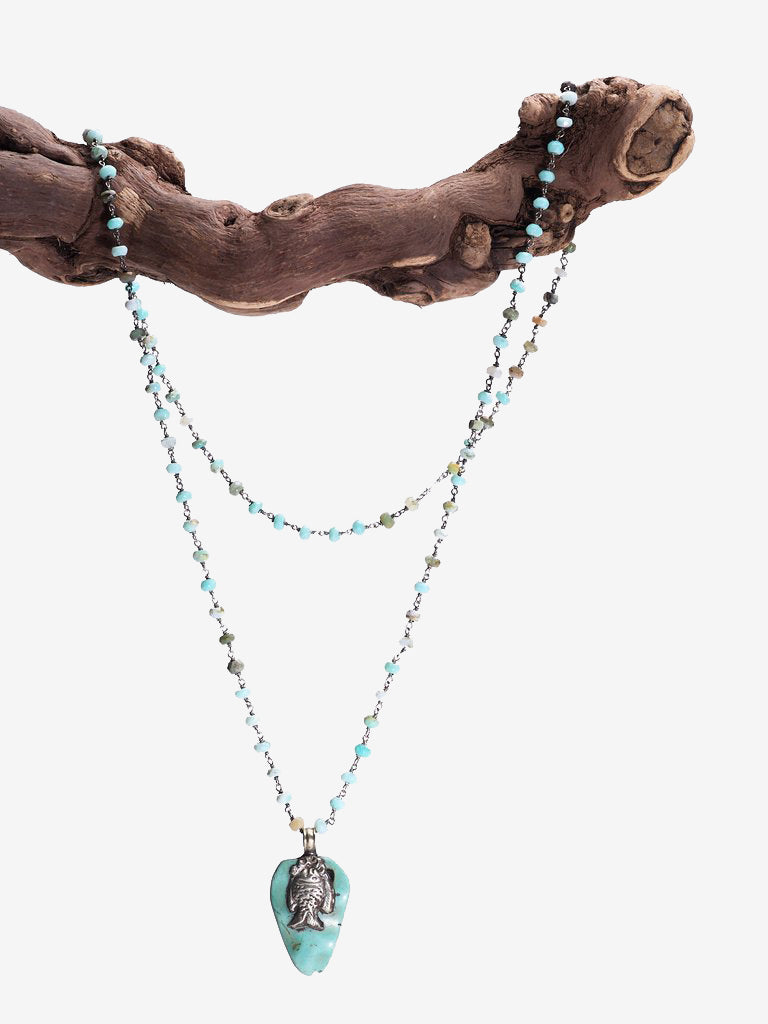 Ocean Love - Turquoise Opal Sterling Silver Necklace - One of a Kind | Jada Jo