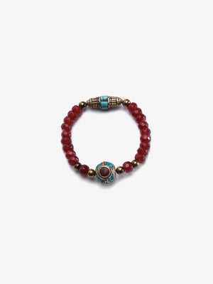Empress - Garnet, Turquoise and Gold Bracelet | Jada Jo