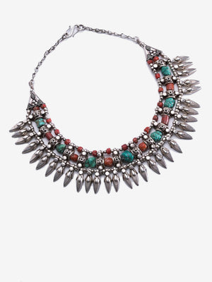 Goddess - Sterling Silver Turquoise and Coral Necklace from Nepal | Jada Jo