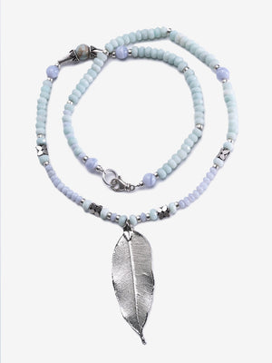 Joy - Amazonite Agate Silver Leaf Necklace | Jada Jo
