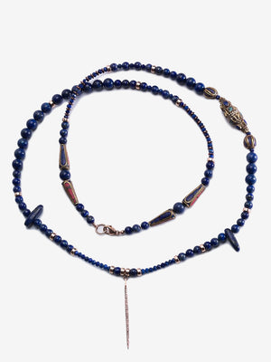 Waves - Blue Lapis Pave Diamond Necklace | Jada Jo