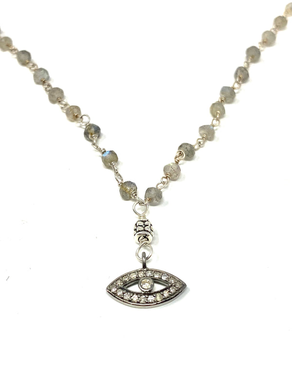 Imagine - Labradorite Evil Eye Pave Diamond Necklace