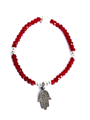 Red Fortunate Pave Diamond Hamsa Bracelet